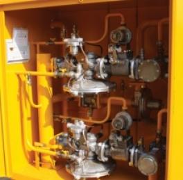 Купить ГРП-1-2Н(В) газорегуляторный пункт с регулятором РДБК1-25Н(В) (ГРП-2-2Н(В) с регулятором РДБК1-50Н(В)) с газовым обогревом с вертикальным подводом газа